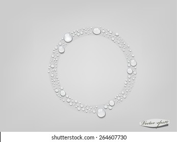 vector of water drop in circle form, glass condensed water concept