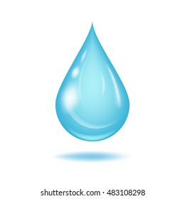 Vector water drop. Isolated on white background.