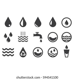 Vector water icons set on white background. Black. Vector illustration