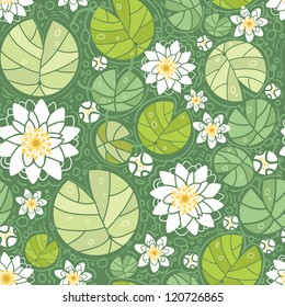 Vector water lilies seamless pattern background with hand drawn flowers and leaves.