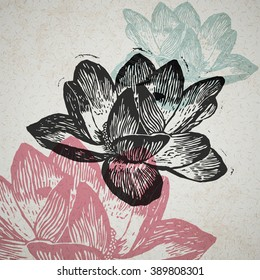 Vector water lily in abstract composition. Engraved nenuphars in different colors on old paper