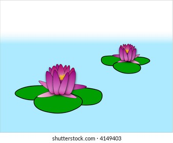 Vector water lily on the pond