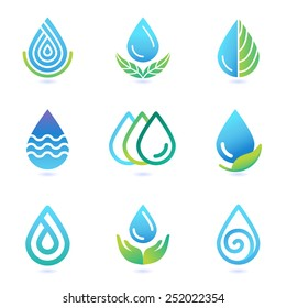Vector water and oil logo design elements - set of ecology icons