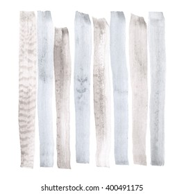 Vector watercolor abstract background, stylish vertical stripes in gray and blue colors brush strokes