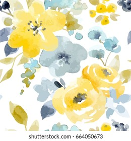 Vector watercolor  abstract flower pattern