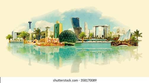 vector watercolor ABU DHABI city illustration