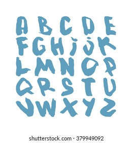 Vector Watercolor Alphabet. Watercolor Blue Font. ABC Painted Letters. Modern Brush Lettering. Painted Alphabet for design. Vector illustration. Isolated on white