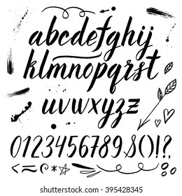 Vector watercolor alphabet with numbers, ampersand, arrow, heart, leaves. Hand drawn ink font.