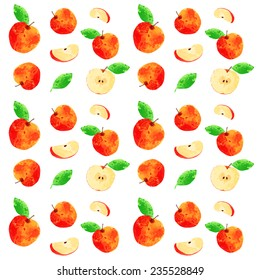 vector watercolor apple pattern