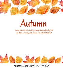 Vector watercolor background with colorful hand drawn tree leaves. Bright orange card with Autumn inscription and place for your text. Yellow, orange, red and brown elements on white background.