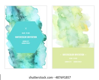 Vector watercolor background, elegant simple card templates. Patel color backdrops. Watercolor bright, feminine, cute washes, shapes, splashes. Wedding and save the date, party, baby shower template.
