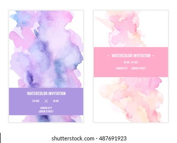 Vector watercolor background, elegant simple card templates. Pastel color backdrops. Watercolor bright, feminine, cute washes, shapes, splashes. Wedding and save the date, party, baby shower template.