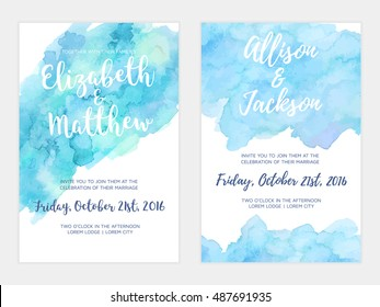 Vector watercolor background, elegant simple card templates. Pastel color backdrops. Watercolor feminine wedding and save the date cards. Party, baby shower templates.
