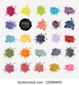 Vector watercolor background. Real watercolor texture. Watercolor splashes and dots texture. Artistic handdrawn background.
