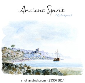 Vector Watercolor Background, Seascape Painting, Boat In A Bay With Mountains And Old Castle In The Background.