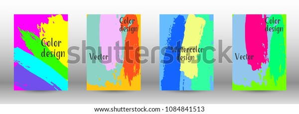Vector watercolor background. Set from A4 modern abstract backgrounds with multicolored strokes. Template of design. Suitable for the design of banners, posters, booklets, reports, magazines. EPS 10