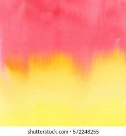 Vector watercolor background.Red,yellow gradient for any fabric,notebook cover,business card,scrap-booking paper.Hand drawn,trendy,modern.