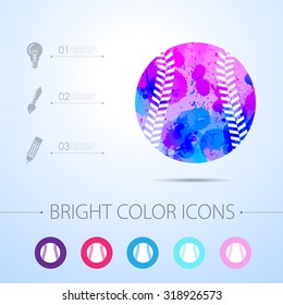 Vector watercolor baseball icon with infographic elements