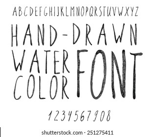 Vector watercolor black alphabet and numbers. Hand-drawn stylish slim font.