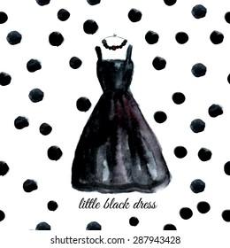 Vector watercolor black dress on polka dot background.EPS10
