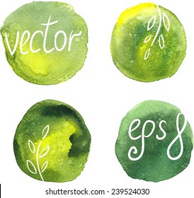 Vector watercolor blots, decorative elements.