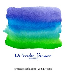 vector watercolor blue, green and violet banner isolated on white background