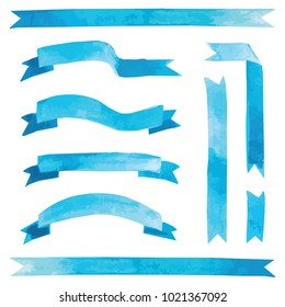 Vector watercolor blue ribbons set illustration for card design