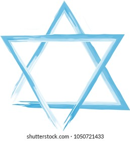 Vector watercolor blue star of David. Two triangles made by brushes.