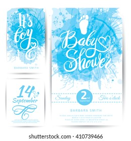 Vector watercolor blue sticker set It's a boy. Calligraphy lettering Baby shower. element for invitation design.