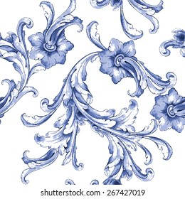 Vector watercolor blue texture pattern.Seamless pattern can be used for wallpaper,pattern fills,web page background,surface textures