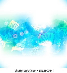 Vector watercolor bright blue background. Underwater with seashells and starfish