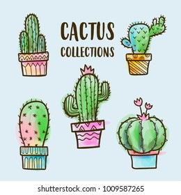vector watercolor cactus collections, vector cactus set, watercolor cactus, succulent vector set