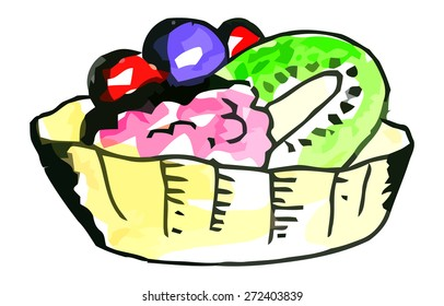 Vector watercolor cake with fruits on a whie background