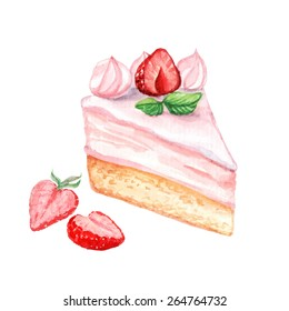 vector watercolor cake, piece of cake.   It can be used for card, postcard, cover, invitation, wedding card, mothers day card, birthday card, menu, recipe.