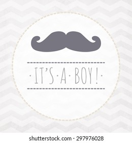 Vector watercolor card ITS A BOY with mustache on a zigzag pattern