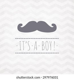 Vector watercolor card ITS A BOY! with mustache on a zigzag pattern