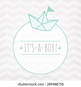 Vector watercolor card IT'S A BOY with paper origami boat on a zigzag pattern
