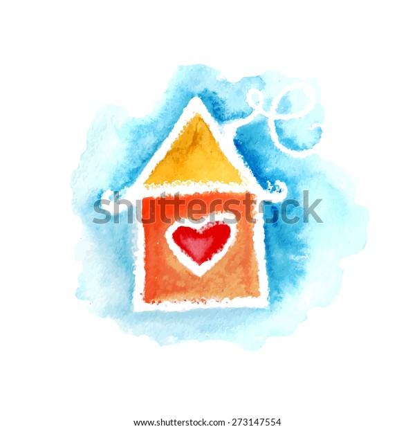 Vector Watercolor Cartoon House Can Be Stock Vector Royalty Free