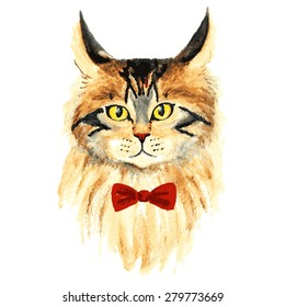 vector watercolor cat with bow
