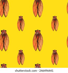 vector watercolor cicada seamless pattern.  It can be used for wallpaper, fabric design, textile design, cover, wrapping paper, banner, card, background