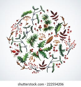 Vector watercolor circle design made of Christmas plants. Watercolor. Christmas decor. Ideal for design Christmas gifts and scrapbooking.