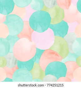 Vector watercolor circles seamless pattern (tiled). Retro hand drawn circles ornament. Round shapes pattern. Round shapes. Painted ornament. Grunge colorful rounds shapes.