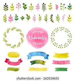 Vector watercolor collection with ribbons, label, floral elements, wreaths. Hand drawn design isolated on white background