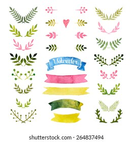 Vector watercolor collection with ribbons, laurels, floral elements, wreaths. Hand drawn watercolor design elements isolated on white background
