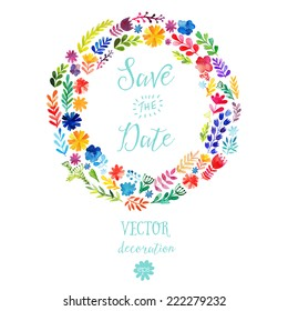 Vector watercolor colorful circular floral wreaths with summer flowers and central white copy space for your text. Vector handdrawn wedding  wreath with flowers. Save the date