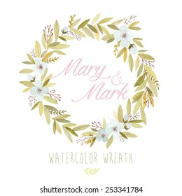 Vector watercolor colorful circular floral wreaths with summer flowers and central white copy space for your text. Vector hand drawn watercolor wreath with flowers. Save the date. Wedding invitation