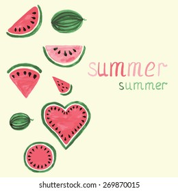 Vector watercolor colorful watermelon with copy space for your text. Vector hand drawing fruit elements.