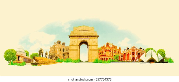 vector watercolor delhi city illustration