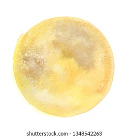Vector and watercolor drawing, an abstract golden yellow background texture resembling a full moon