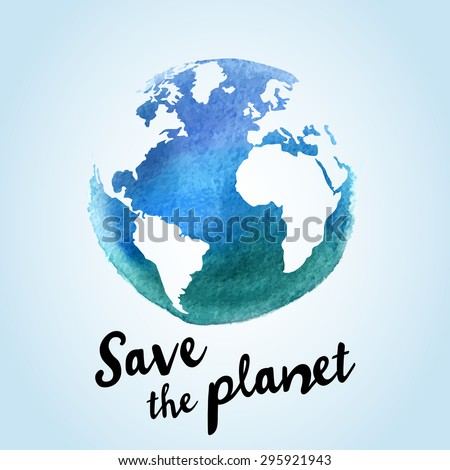 Vector Watercolor Earth Isolated Hand Drawing Stock Vector Royalty